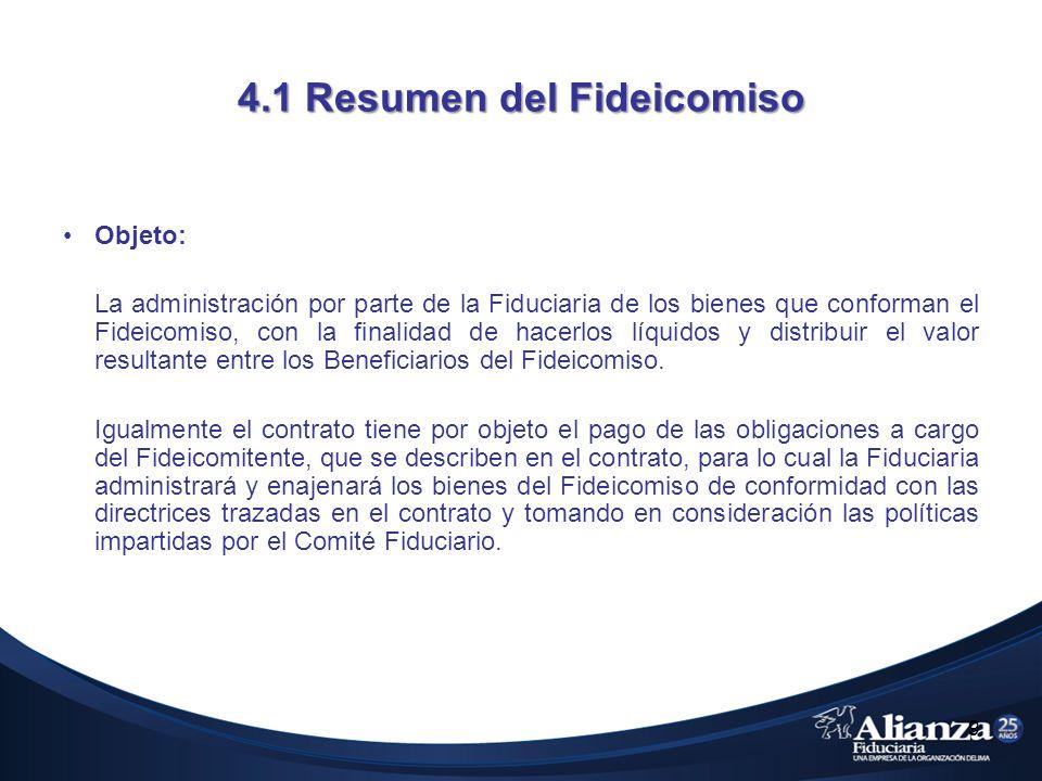 4.1 Resumen del Fideicomiso Objeto: La administración por parte de la Fiduciaria de los bienes que conforman el Fideicomiso, con la finalidad de hacer