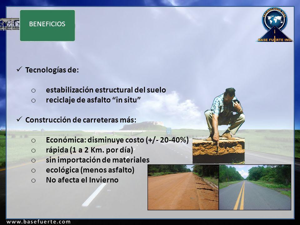 BENEFICIOS Tecnologías de: o estabilización estructural del suelo o reciclaje de asfalto in situ Construcción de carreteras más: o Económica: disminuye costo (+/- 20-40%) o rápida (1 a 2 Km.