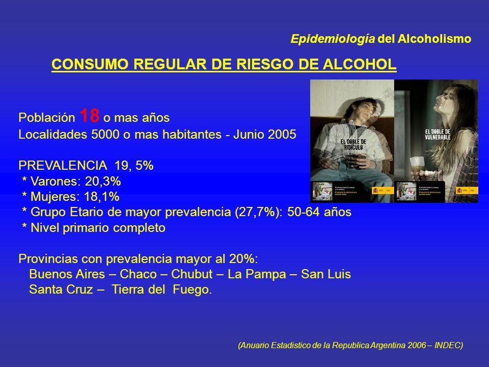 Epidemiología del Alcoholismo IMPACTO DEL CONSUMO DE SUSTANCIAS EN DETENCIONES 16,5% de los procedimientos policiales se relacionó con uso indebido de drogas 35,8 % de los detenidos mostraba indicios de uso indebido de drogas En el 70% de las detenciones la droga determinante fue el alcohol (Ministerio de Seguridad y Subsecretaria de Asistencia de las Adicciones del Ministerio de Salud de la Pcia de Buenos Aires, 2003 ) IMPACTO DEL ALCOHOL EN LAS MUERTES POR ACCIDENTES Muertes anuales por accidentes en Argentina: 10.484 (3,8% del total) 10,3% de los accidentes de transito y 7,7% de los accidentes laborales se relacionan con consumo de alcohol y drogas (Datos : Hospital General PBA Avellaneda Julio 2004) (Area de realización de la investigación : Ensenada y La Plata )