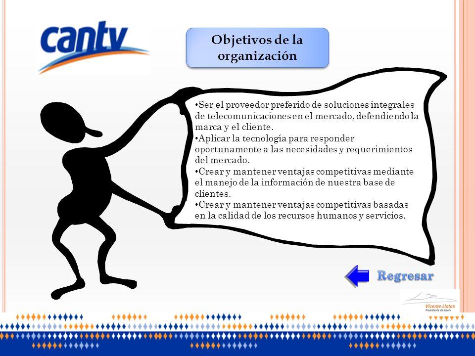 Objetivos de la organización Ser el proveedor preferido de soluciones integrales de telecomunicaciones en el mercado, defendiendo la marca y el client