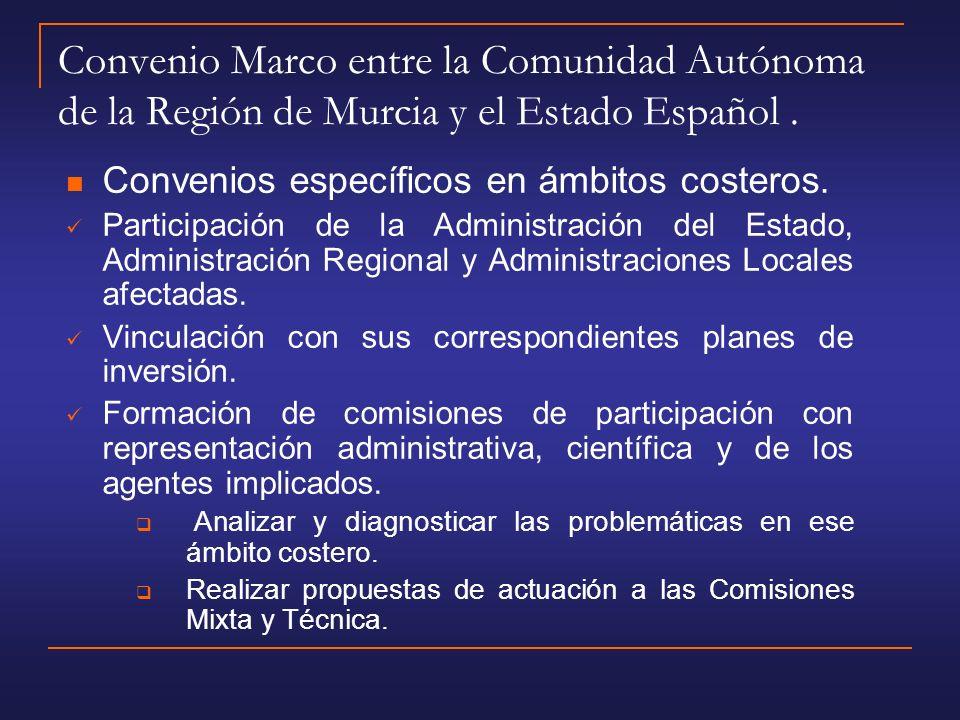 Convenio Marco entre la Comunidad Autónoma de la Región de Murcia y el Estado Español.