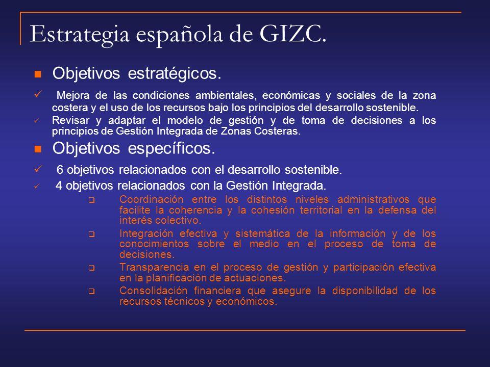 Estrategia española de GIZC.Objetivos estratégicos.