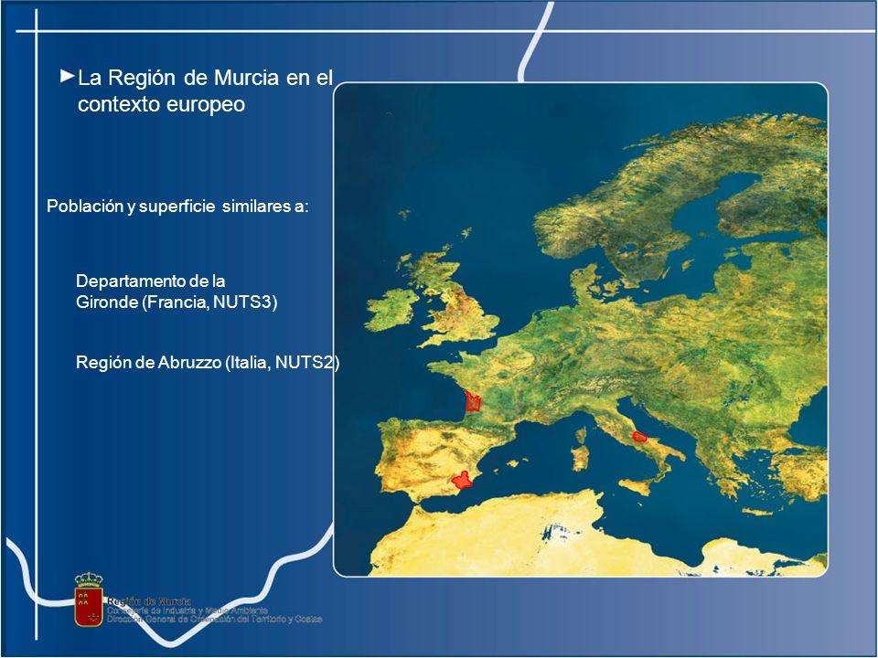 Población y superficie similares a: Región de Abruzzo (Italia, NUTS2) Departamento de la Gironde (Francia, NUTS3) La Región de Murcia en el contexto europeo