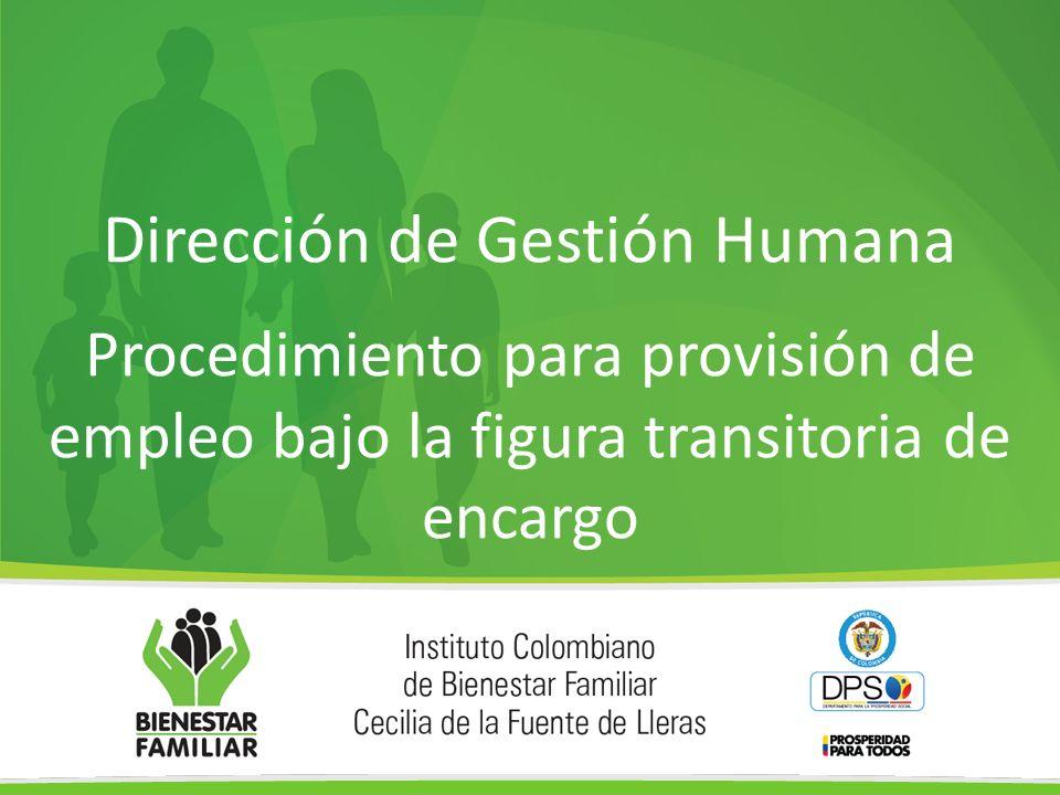 Dirección de Gestión Humana Procedimiento para provisión de empleo bajo la figura transitoria de encargo