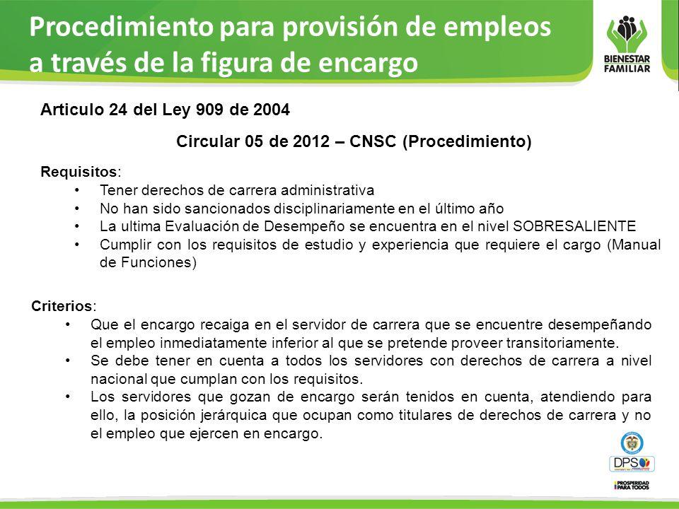 Procedimiento para provisión de empleos a través de la figura de encargo Criterios: Que el encargo recaiga en el servidor de carrera que se encuentre