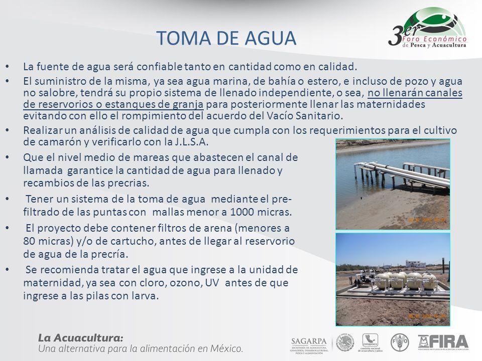 TOMA DE AGUA Que el nivel medio de mareas que abastecen el canal de llamada garantice la cantidad de agua para llenado y recambios de las precrias. Te