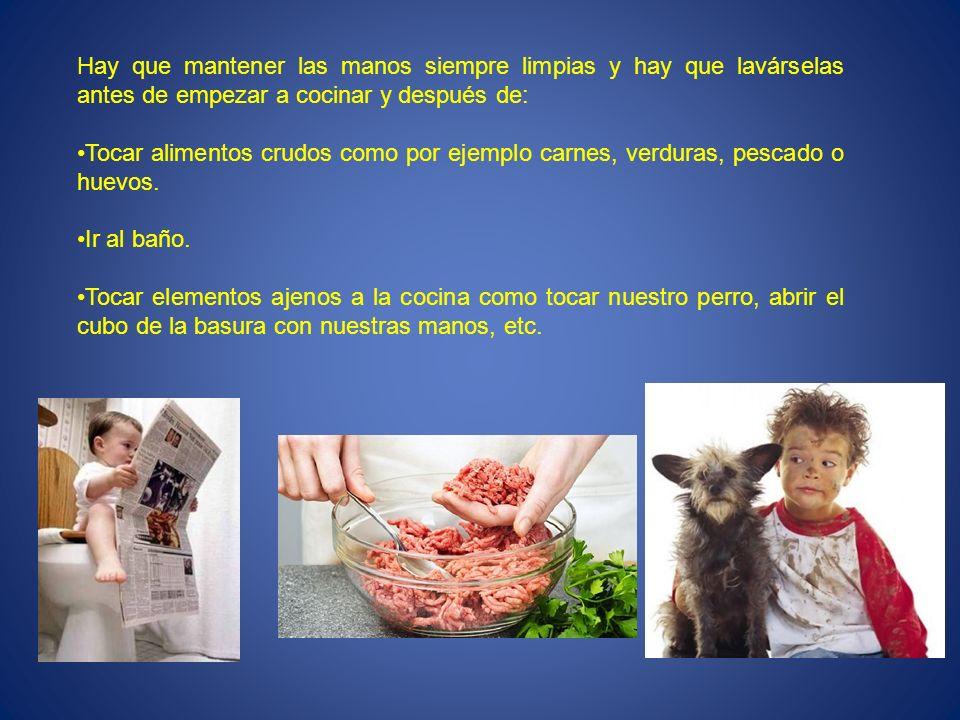 Hay que mantener las manos siempre limpias y hay que lavárselas antes de empezar a cocinar y después de: Tocar alimentos crudos como por ejemplo carne
