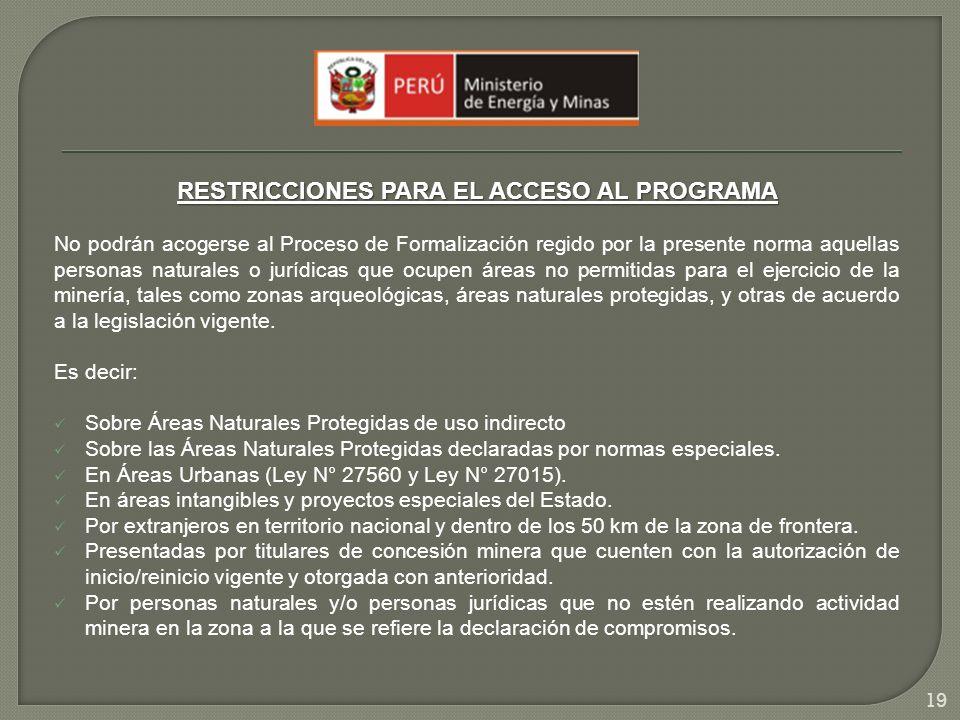 RESTRICCIONES PARA EL ACCESO AL PROGRAMA No podrán acogerse al Proceso de Formalización regido por la presente norma aquellas personas naturales o jur