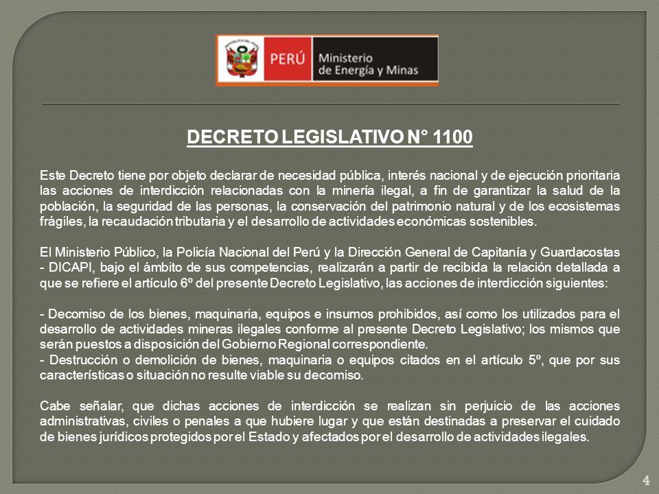 DECRETO LEGISLATIVO N° 1100 Este Decreto tiene por objeto declarar de necesidad pública, interés nacional y de ejecución prioritaria las acciones de i
