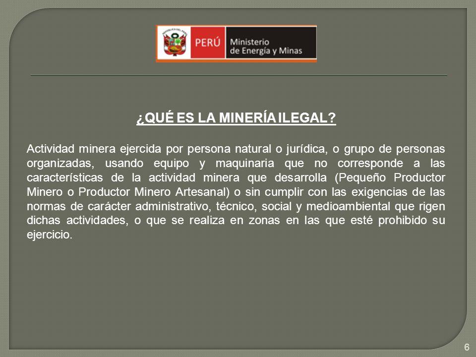 ¿QUÉ ES LA MINERÍA ILEGAL? Actividad minera ejercida por persona natural o jurídica, o grupo de personas organizadas, usando equipo y maquinaria que n