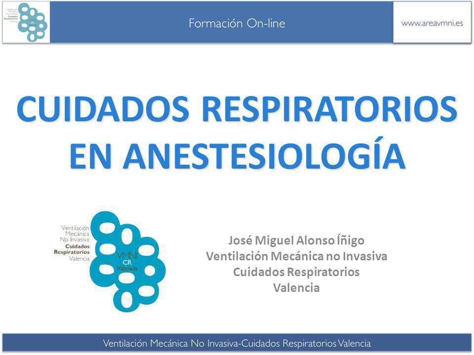 CUIDADOS RESPIRATORIOS EN ANESTESIOLOGÍA José Miguel Alonso Íñigo Ventilación Mecánica no Invasiva Cuidados Respiratorios Valencia
