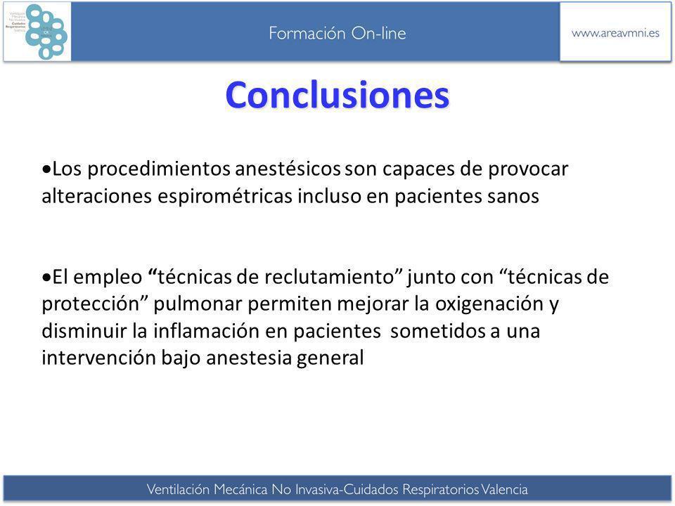 Conclusiones Los procedimientos anestésicos son capaces de provocar alteraciones espirométricas incluso en pacientes sanos El empleo técnicas de reclu