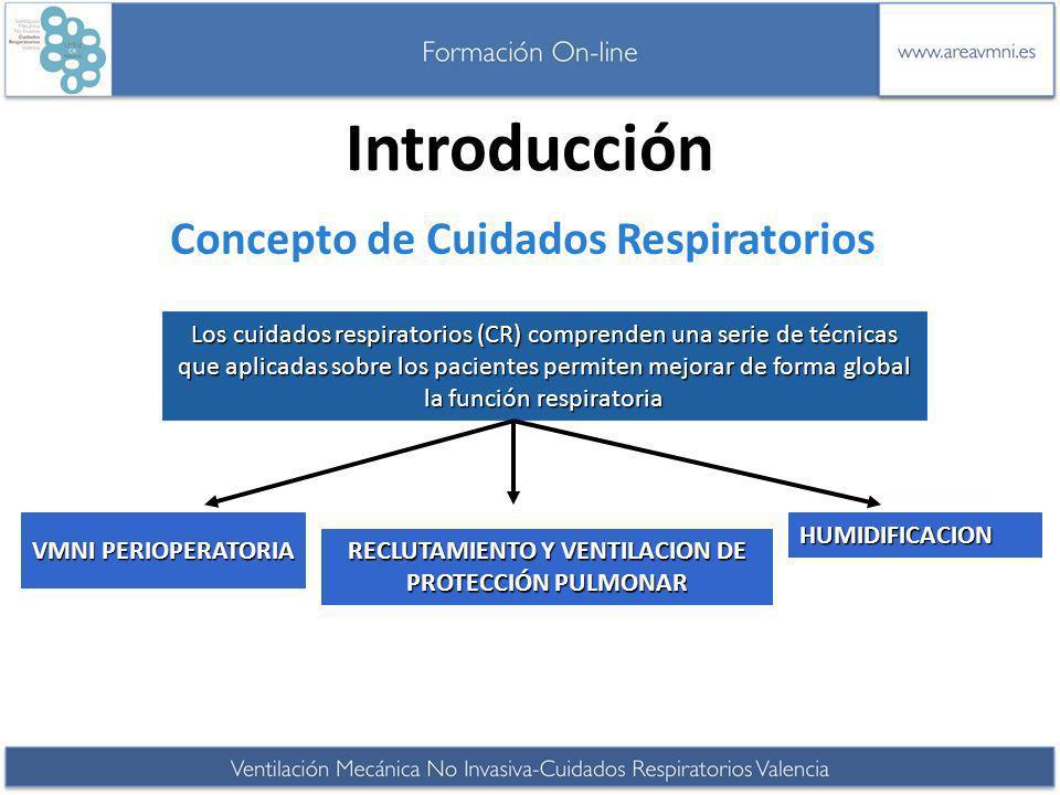 Introducción Concepto de Cuidados Respiratorios Los cuidados respiratorios (CR) comprenden una serie de técnicas que aplicadas sobre los pacientes per