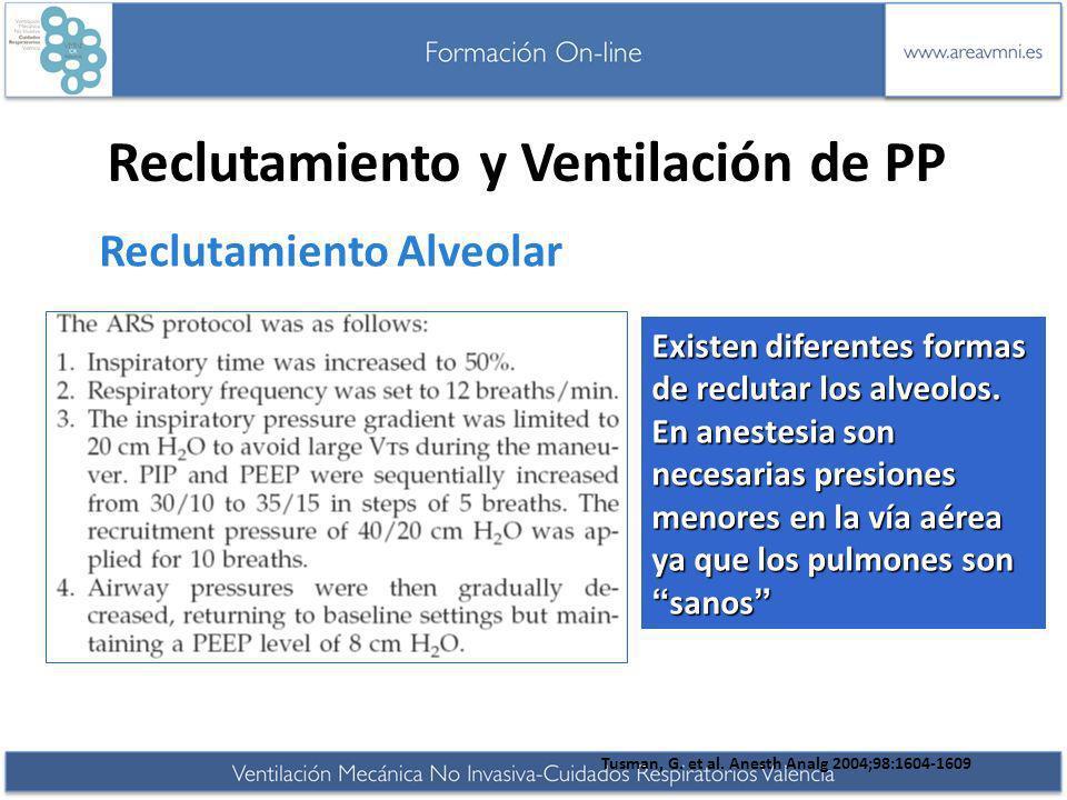 Reclutamiento y Ventilación de PP Reclutamiento Alveolar Tusman, G. et al. Anesth Analg 2004;98:1604-1609 Existen diferentes formas de reclutar los al