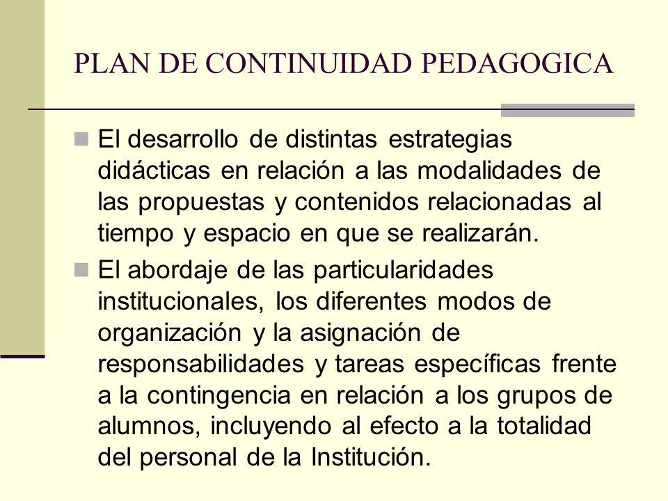 PLAN DE CONTINUIDAD PEDAGOGICA El desarrollo de distintas estrategias didácticas en relación a las modalidades de las propuestas y contenidos relacion