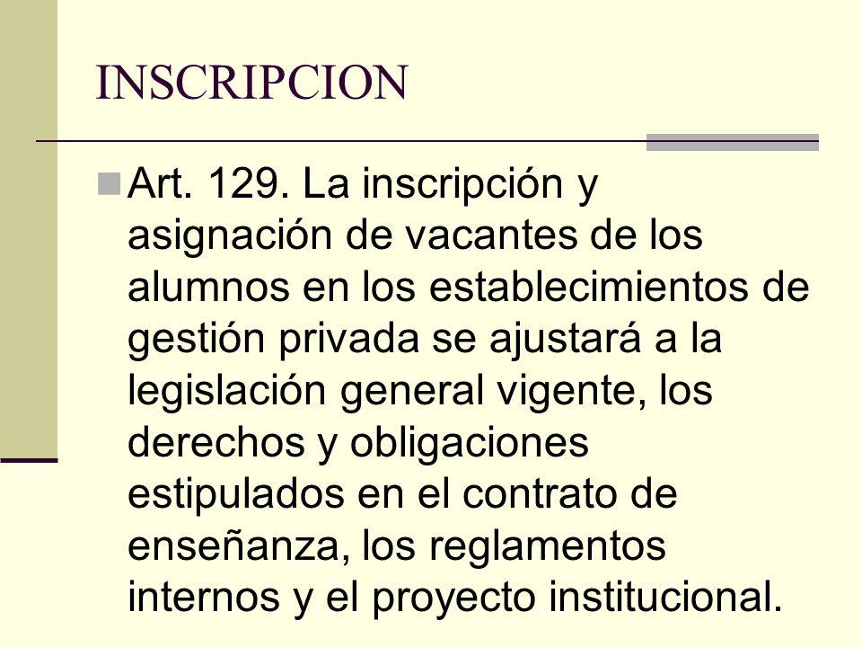 INSCRIPCION Art. 129. La inscripción y asignación de vacantes de los alumnos en los establecimientos de gestión privada se ajustará a la legislación g