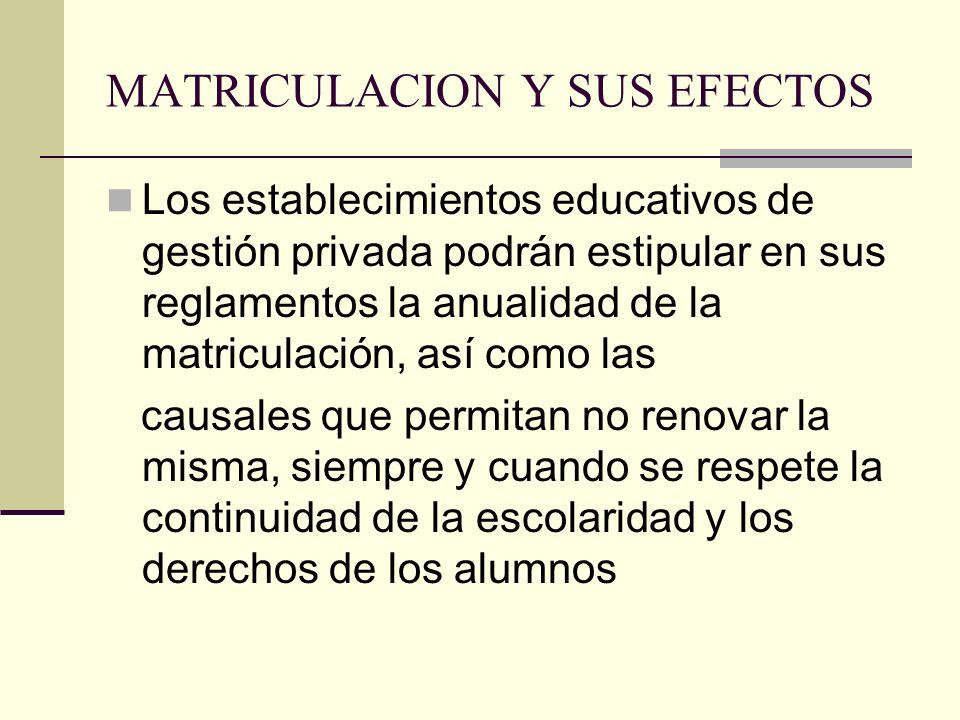 MATRICULACION Y SUS EFECTOS Los establecimientos educativos de gestión privada podrán estipular en sus reglamentos la anualidad de la matriculación, a
