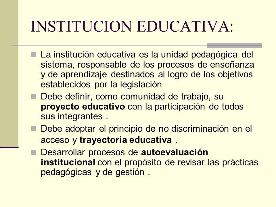 INSTITUCION EDUCATIVA: La institución educativa es la unidad pedagógica del sistema, responsable de los procesos de enseñanza y de aprendizaje destina