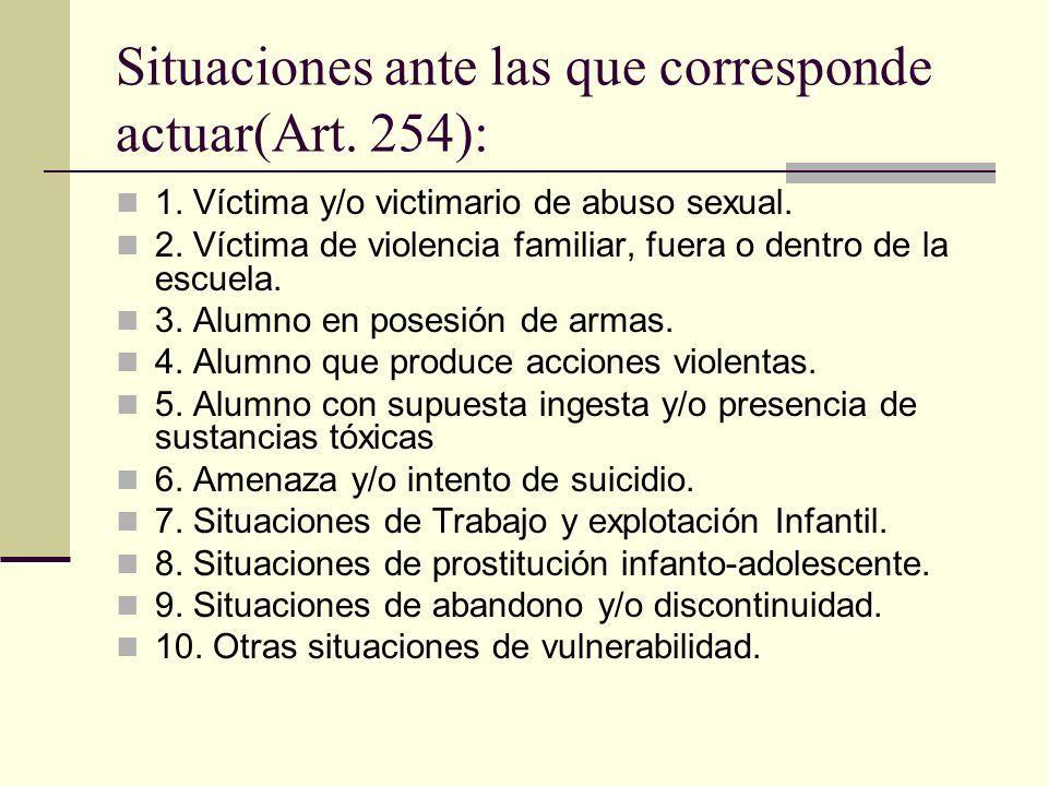 Situaciones ante las que corresponde actuar(Art. 254): 1. Víctima y/o victimario de abuso sexual. 2. Víctima de violencia familiar, fuera o dentro de