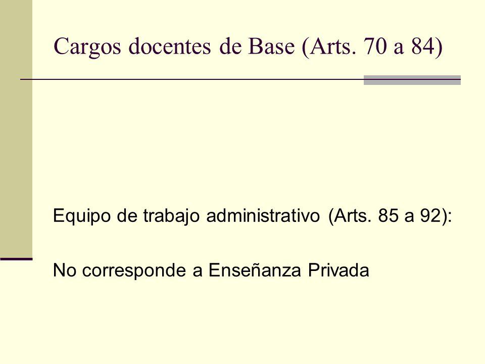 Cargos docentes de Base (Arts. 70 a 84) Equipo de trabajo administrativo (Arts. 85 a 92): No corresponde a Enseñanza Privada