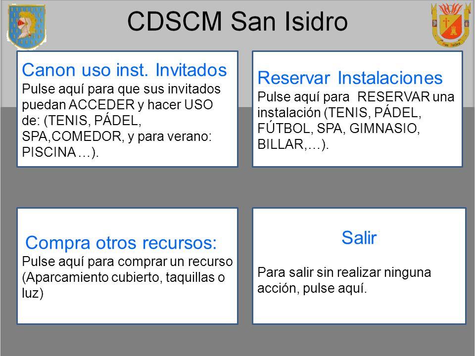 Reservas – Paso 1: Seleccionar tipo recurso.Pulse sobre el tipo de recurso que desea reservar.