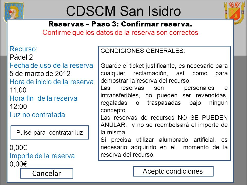 Reservas – Paso 3: Confirmar reserva.