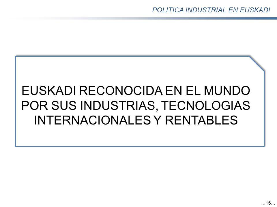 POLITICA INDUSTRIAL EN EUSKADI …16… EUSKADI RECONOCIDA EN EL MUNDO POR SUS INDUSTRIAS, TECNOLOGIAS INTERNACIONALES Y RENTABLES