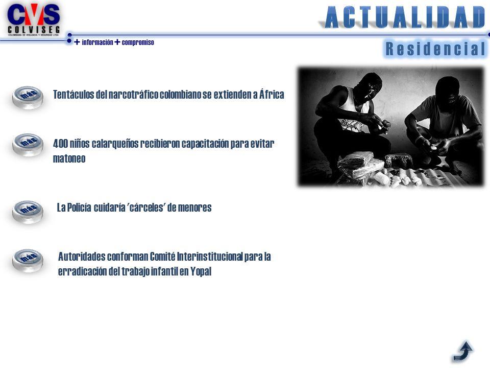 + información + compromiso La Policía cuidaría cárceles de menores Tentáculos del narcotráfico colombiano se extienden a África 400 niños calarqueños recibieron capacitación para evitar matoneo Autoridades conforman Comité Interinstitucional para la erradicación del trabajo infantil en Yopal