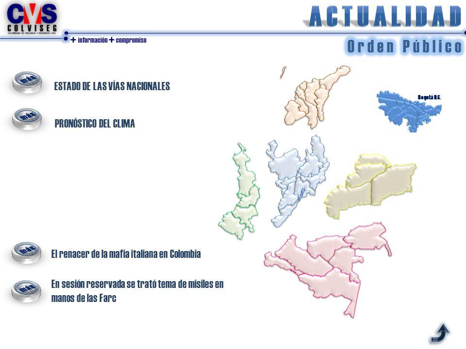 + información + compromiso ESTADO DE LAS VÍAS NACIONALES PRONÓSTICO DEL CLIMA Bogotá D.C. El renacer de la mafia italiana en Colombia En sesión reserv