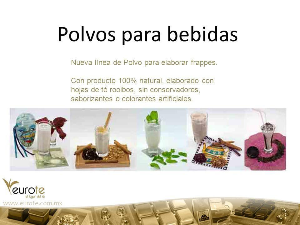 Polvos para bebidas Nueva línea de Polvo para elaborar frappes. Con producto 100% natural, elaborado con hojas de té rooibos, sin conservadores, sabor