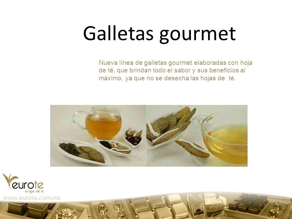 Galletas gourmet Nueva línea de galletas gourmet elaboradas con hoja de té, que brindan todo el sabor y sus beneficios al máximo, ya que no se desecha
