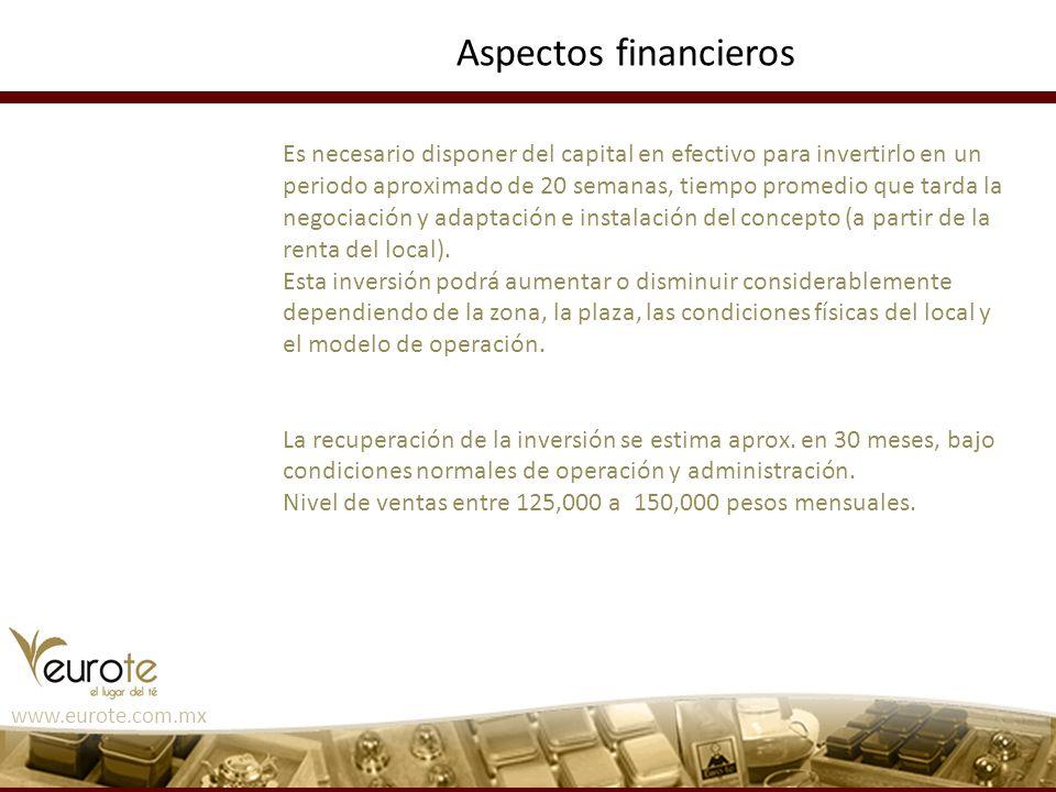 www.eurote.com.mx Aspectos financieros Es necesario disponer del capital en efectivo para invertirlo en un periodo aproximado de 20 semanas, tiempo pr