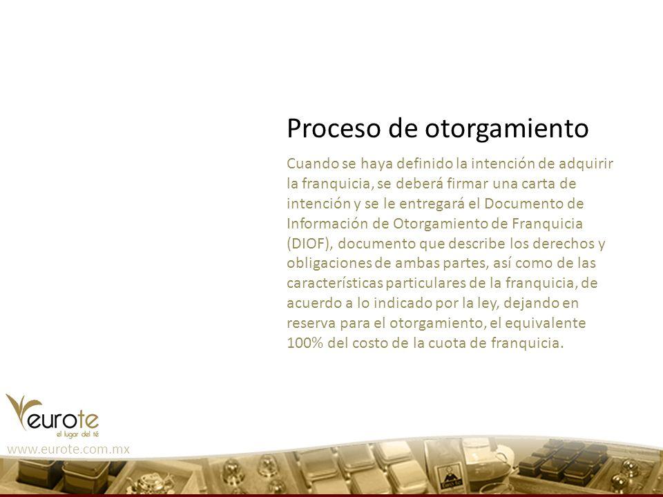 www.eurote.com.mx Cuando se haya definido la intención de adquirir la franquicia, se deberá firmar una carta de intención y se le entregará el Documen