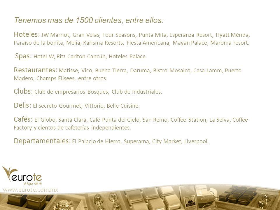 www.eurote.com.mx Tenemos mas de 1500 clientes, entre ellos: Hoteles : JW Marriot, Gran Velas, Four Seasons, Punta Mita, Esperanza Resort, Hyatt Mérid