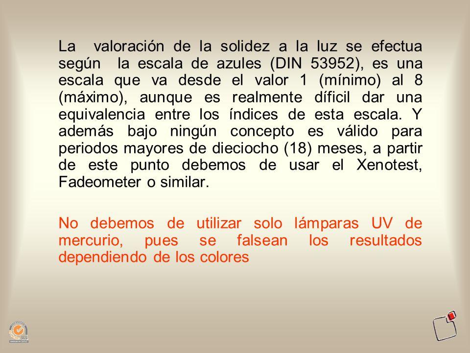La valoración de la solidez a la luz se efectua según la escala de azules (DIN 53952), es una escala que va desde el valor 1 (mínimo) al 8 (máximo), a