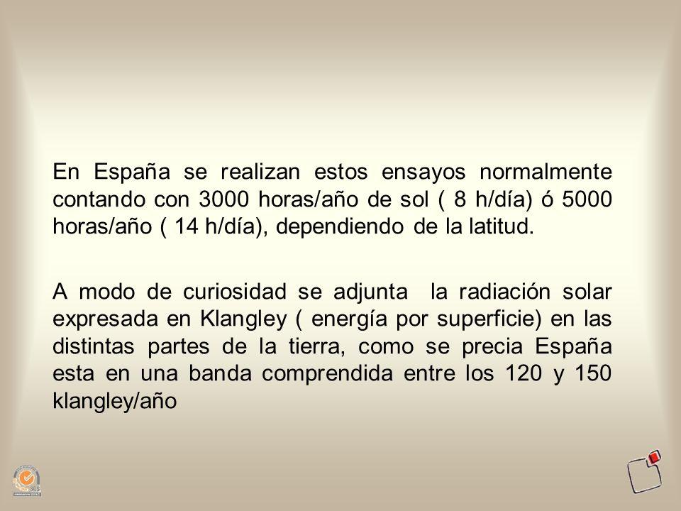 En España se realizan estos ensayos normalmente contando con 3000 horas/año de sol ( 8 h/día) ó 5000 horas/año ( 14 h/día), dependiendo de la latitud.