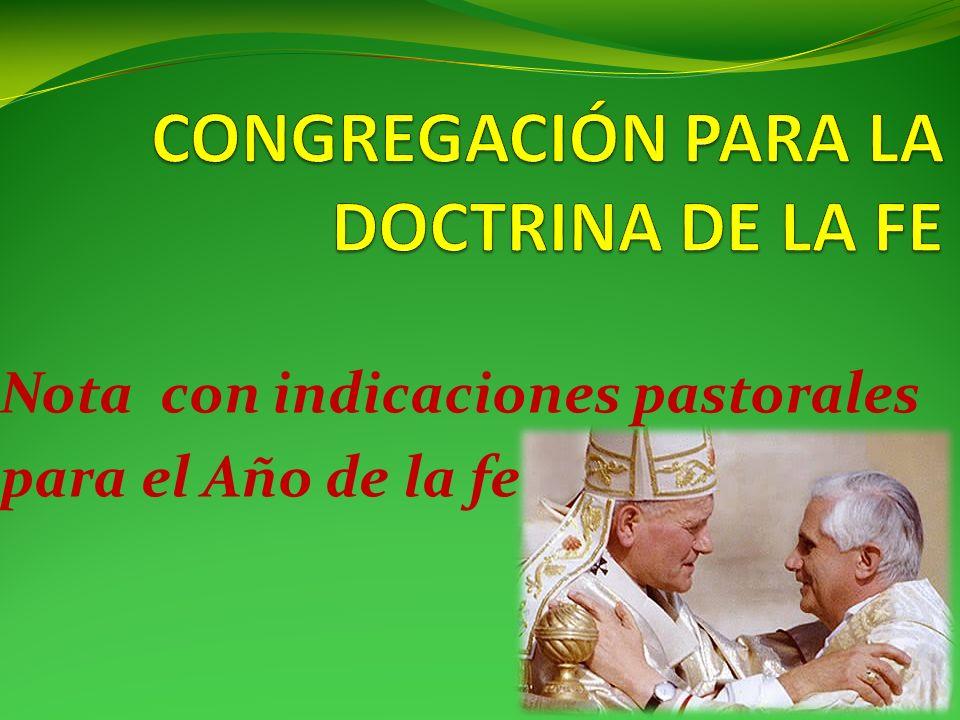 Nota con indicaciones pastorales para el Año de la fe