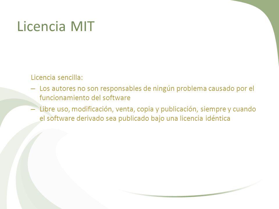 Licencia MIT Licencia sencilla: – Los autores no son responsables de ningún problema causado por el funcionamiento del software – Libre uso, modificac