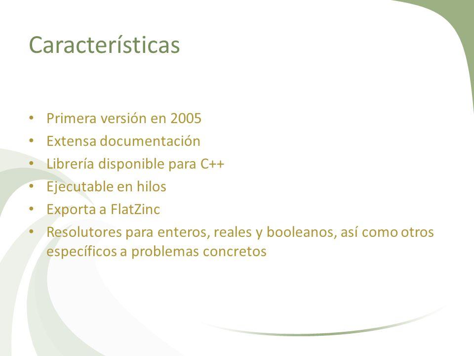 Características Primera versión en 2005 Extensa documentación Librería disponible para C++ Ejecutable en hilos Exporta a FlatZinc Resolutores para ent