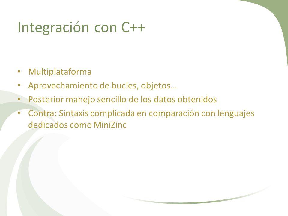 Integración con C++ Multiplataforma Aprovechamiento de bucles, objetos… Posterior manejo sencillo de los datos obtenidos Contra: Sintaxis complicada e