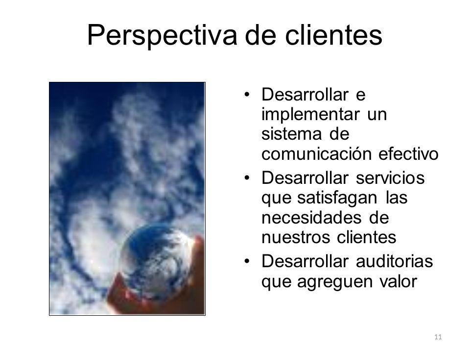 Perspectiva de clientes Desarrollar e implementar un sistema de comunicación efectivo Desarrollar servicios que satisfagan las necesidades de nuestros