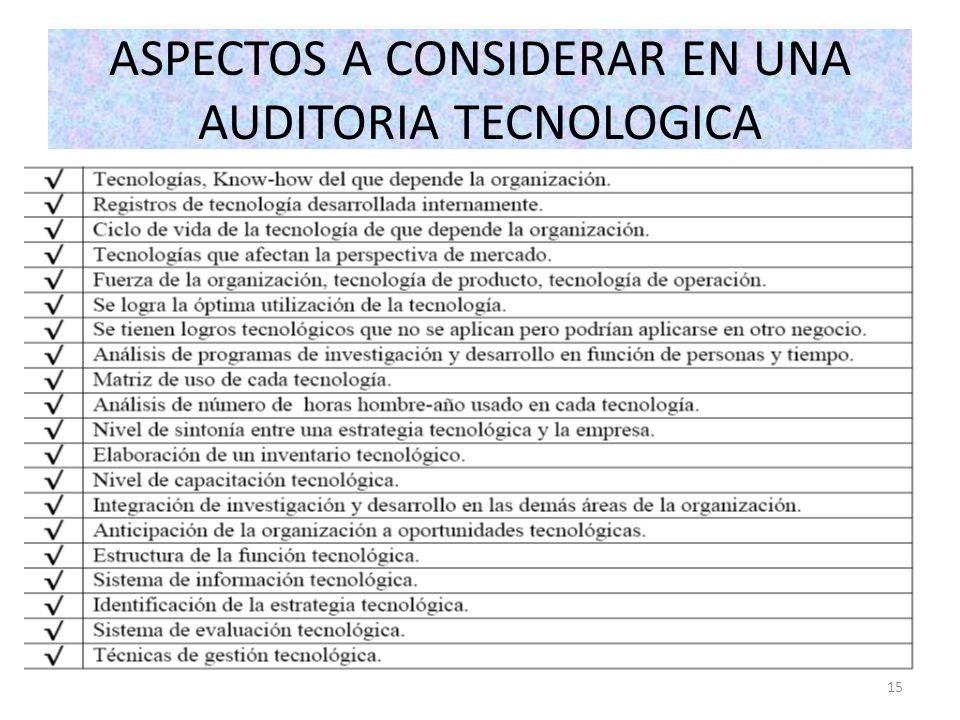 ASPECTOS A CONSIDERAR EN UNA AUDITORIA TECNOLOGICA 15