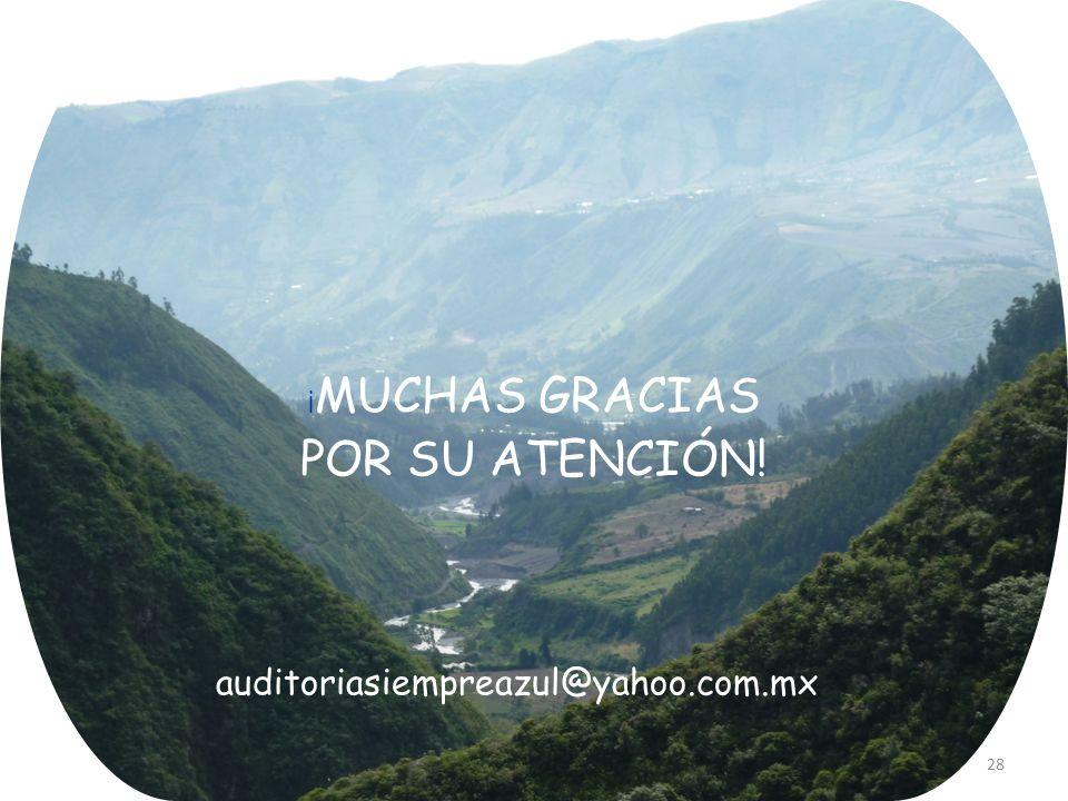 28 ¡ MUCHAS GRACIAS POR SU ATENCIÓN! auditoriasiempreazul@yahoo.com.mx