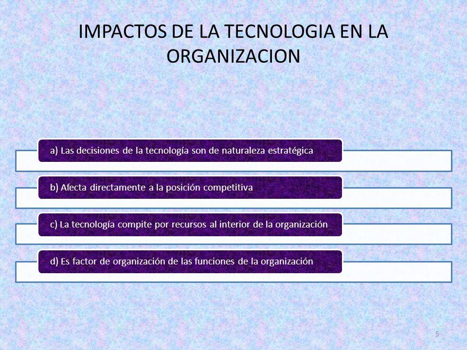 5 a) Las decisiones de la tecnología son de naturaleza estratégicab) Afecta directamente a la posición competitiva c) La tecnología compite por recurs