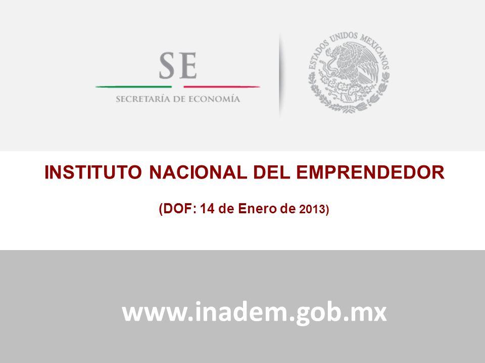 Subdelegación Federal en Tijuana B.C.14 de Enero del 2013 INSTITUTO NACIONAL DEL EMPRENDEDOR (DOF: 14 de Enero de 2013) www.inadem.gob.mx