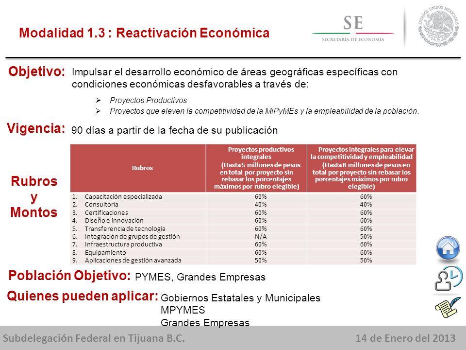 Subdelegación Federal en Tijuana B.C.14 de Enero del 2013 Impulsar el desarrollo económico de áreas geográficas específicas con condiciones económicas desfavorables a través de: Proyectos Productivos Proyectos que eleven la competitividad de la MiPyMEs y la empleabilidad de la población.