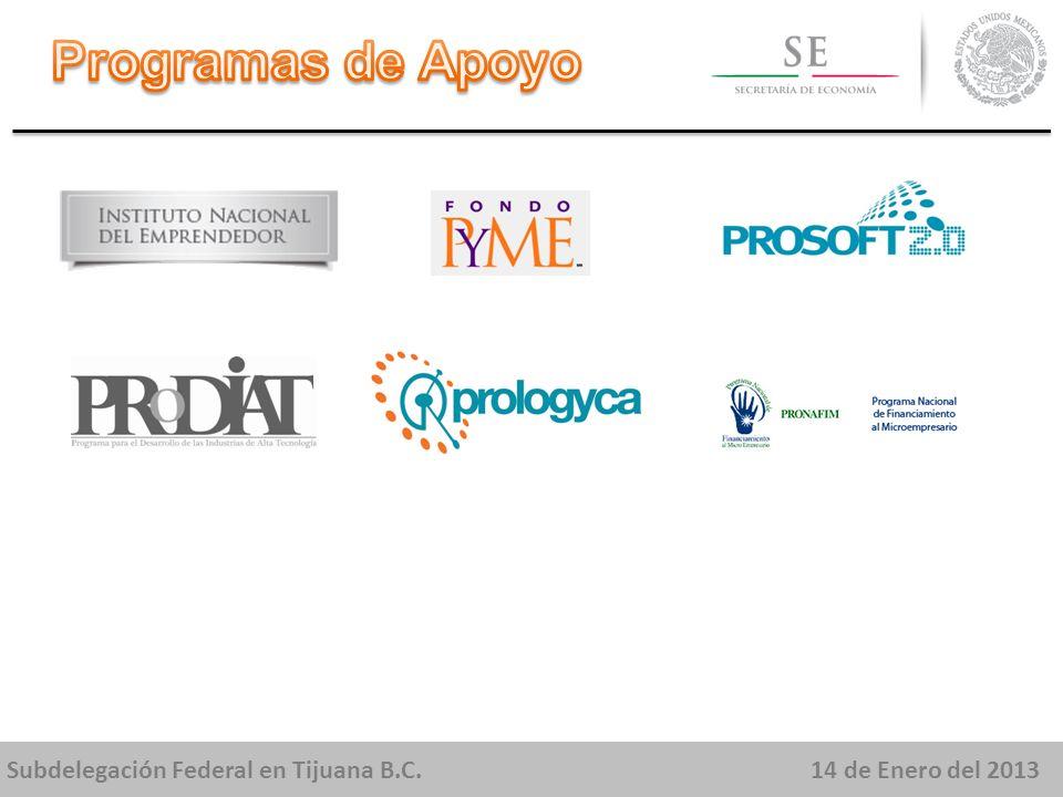 Subdelegación Federal en Tijuana B.C.14 de Enero del 2013 Apoyar a los emprendedores que quieren iniciar un negocio con modelos de negocios probados y rentables basados en modelos de franquicias.