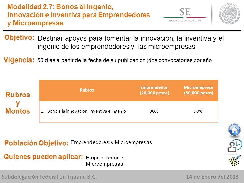 Subdelegación Federal en Tijuana B.C.14 de Enero del 2013 Destinar apoyos para fomentar la innovación, la inventiva y el ingenio de los emprendedores y las microempresas Modalidad 2.7: Bonos al Ingenio, Innovación e Inventiva para Emprendedores y Microempresas 60 días a partir de la fecha de su publicación (dos convocatorias por año Emprendedores y Microempresas Emprendedores Microempresas Rubros Emprendedor (20,000 pesos) Microempresa (50,000 pesos) 1.Bono a la innovación, inventiva e ingenio90%