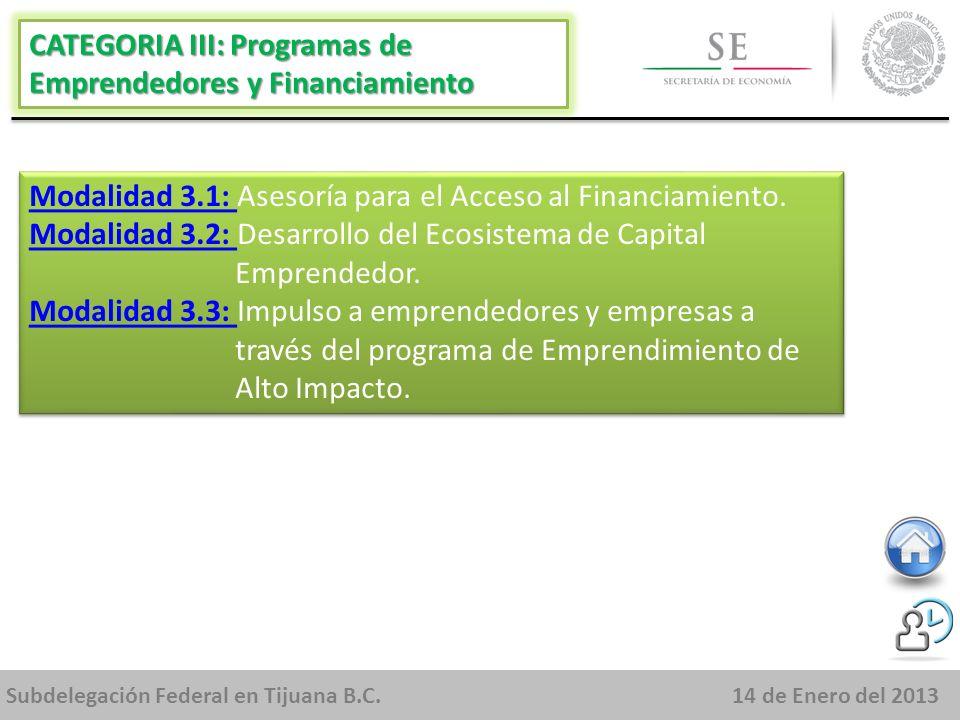 Subdelegación Federal en Tijuana B.C.14 de Enero del 2013 Modalidad 3.1: Modalidad 3.1: Asesoría para el Acceso al Financiamiento.