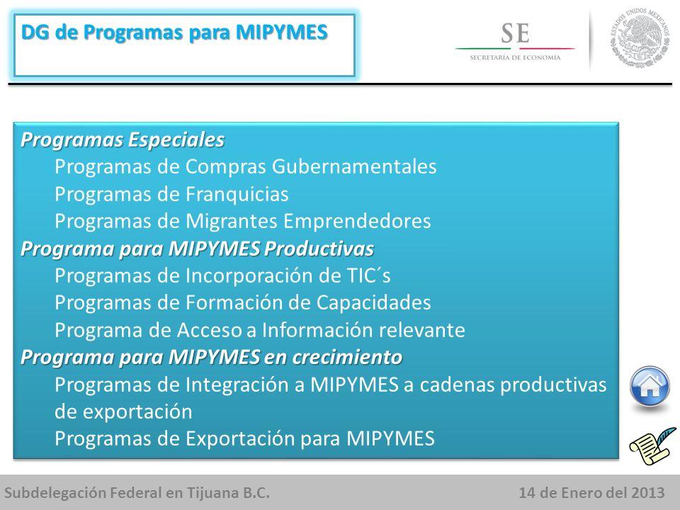 Subdelegación Federal en Tijuana B.C.14 de Enero del 2013 DG de Programas para MIPYMES Programas Especiales Programas de Compras Gubernamentales Programas de Franquicias Programas de Migrantes Emprendedores Programa para MIPYMES Productivas Programas de Incorporación de TIC´s Programas de Formación de Capacidades Programa de Acceso a Información relevante Programa para MIPYMES en crecimiento Programas de Integración a MIPYMES a cadenas productivas de exportación Programas de Exportación para MIPYMES Programas Especiales Programas de Compras Gubernamentales Programas de Franquicias Programas de Migrantes Emprendedores Programa para MIPYMES Productivas Programas de Incorporación de TIC´s Programas de Formación de Capacidades Programa de Acceso a Información relevante Programa para MIPYMES en crecimiento Programas de Integración a MIPYMES a cadenas productivas de exportación Programas de Exportación para MIPYMES